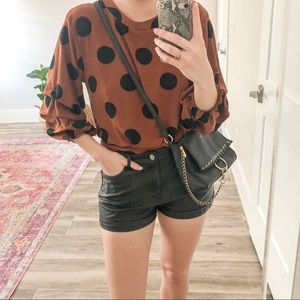 Pants - Cuffed Faux Leather Shorts